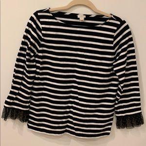 JCrew black stripe flutter sleeve shirt